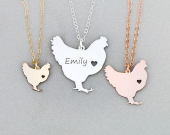 Chicken Necklace • Best Friend Gift • Personalized Pet Chicken • Funny Chicken Gift Funny Farm Animal Gift Pendant Chicken Charm