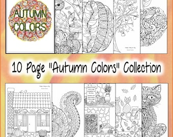 """DIGITAL DOWNLOAD** 10 page pdf """"Autumn Colors"""" Coloring Collection"""