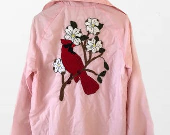 Light Pink Wind Breaker With Embroidery