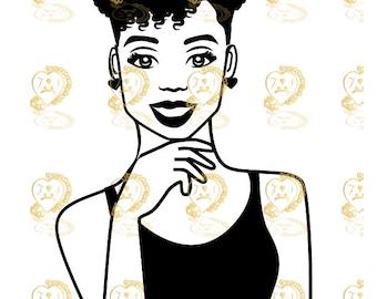 Tyra- Afro woman svg, Black Girl Magic svg, Cricut Silhouette Vinyl cut file Black woman svg