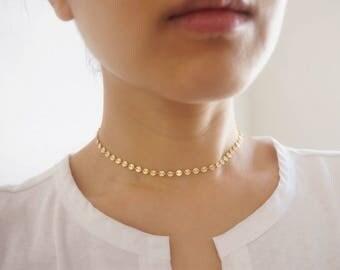 Gold Chain Choker, Gold Choker Necklace, Gold Coin Choker,  Layering Choker, Gold Disc Choker, Gold Geometric Choker, Statement Choker