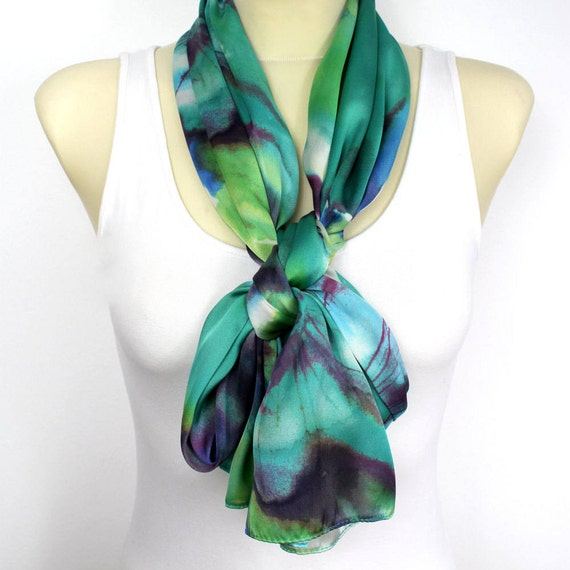 Boho Floral Scarf Satin Silk Scarf Floral Print Scarf Olive Green Shawl Unique Birthday Gift for mom girlfriend Summer Outdoor Summer Party