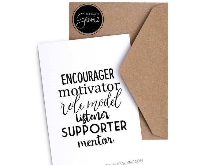 Featured listing image: Encourager. Motivator. Role Model. Listener. Supporter. Mentor.