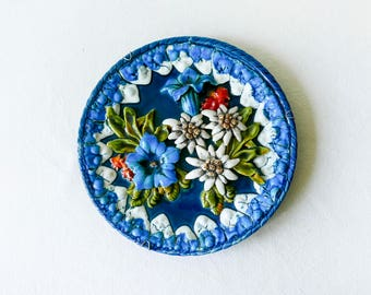 Antique walled volumetric plate-majolica-Edelweiss, mountain flowers-Porcelain-Glazed Pottery-French Antique Majolica Plate- Hand made