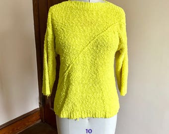 80s Neon Sweater, Bright Yellow, Chartreuse, Pullover, Chaus, Size M, Popcorn Sweater, Preppy, Womens Vintage