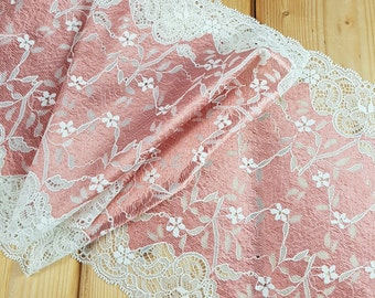 Lovely Pink/Ivory Stretch lace by the meter