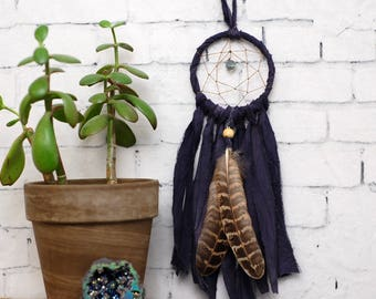 Navy Blue Mini Dream Catcher- Rearview Mirror Dream Catcher