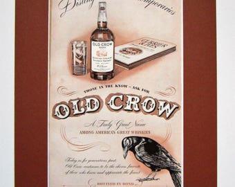 1943 Old Crow Whiskey Vintage Advertisement Matted 11x14 Bar Wall Art Man Cave Decor Game Room Art Kitchen Decor Original Magazine Print Ad