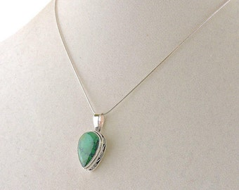 """Sterling Silver And Chrysocolla Pendant Necklace 16"""""""