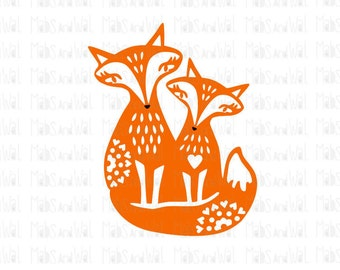 Foxes sitting svg/png/dxf cricut/silhouette cutting file/fox svg/fox svg/woodland svg/animal svg/ svg/folk fox/foxes svg/little foxes/HTV