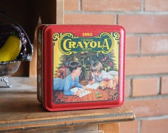 Crayola Crayons Tin - Binney & Smith Inc. - CRAYOLA CRAYONS INC. - Collectible Vintage Coloring Pencil Container - 1992