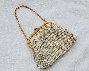 Enamel Mesh Evening Bag or Purse Cream or Off-White Vintage Accessory with Gift Box