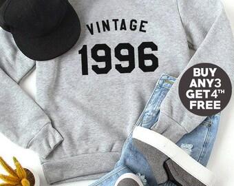 Vintage Sweatshirt 22nd birthday sweatshirt 1996 shirt birthday sweater pullover sweatshirt crewneck sweater graphic tshirt birthday funny