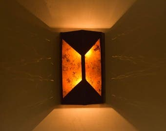 Copper and Mica wall sconce