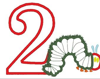 Hungry Caterpillar Embroidery Design, Caterpillar Applique Embroidery Design, Second Birthday Design,