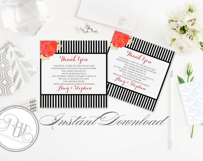 Black & White Stripe Red Peony Thank You Card-INSTANT DOWNLOAD-Diy Text Only Editable-Wedding Black White Stripe-Penelope