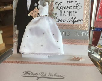 Bride and groom, Mr&Mrs, Wedding Card, tux, wedding gown, white, pink, metallic, silver, flowers, love, limited edition, Pop-up