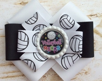 Volleyball Rocks Six Loop Hair Bow, Volleyball Hair Bow, Hair Accessories, Hair Ribbons, Volleyball Bow, Hair Bow, Volleyball Barrette