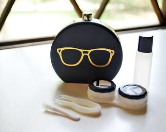 Black Contact Lens Case and Travel Kit: Gold Foiled Eye Glasses Design
