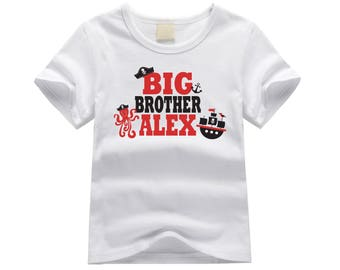Personalized big brother shirt. Big brother pirate theme. Pirate ship big brother shirt. Big brother announcement. Pirate big brother shirt