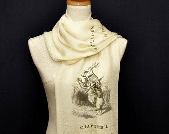 Alice in Wonderland Chiffon scarf, summer scarf, light scarf, Spring scarf