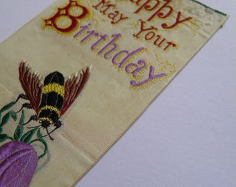 Stevengraph Stevens Silk Woven Bookmark Happy May Your Birthday Bee
