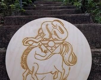 Horse Spirit Wood Etching