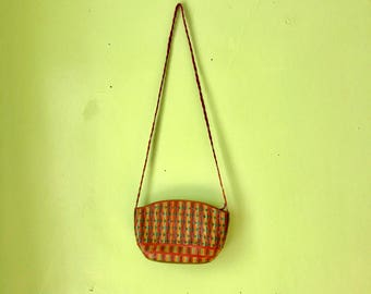 Vintage Colorful Woven Bag 1970s Crossbody Purse Hipster BOHO Braided Leather Purse Ethnic bagn
