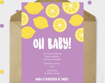 Baby Shower Invitations - Baby Shower - Baby Girl - Lemon Baby Shower Invite - Baby Sprinkle Invitations - Printable - Personalized - 5x7