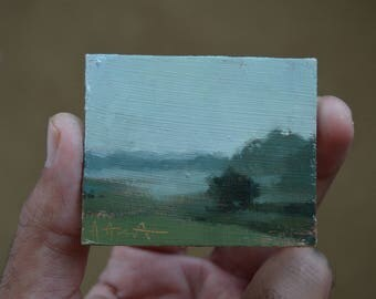 WISCONSIN MORNING / Refrigerator Magnet Oil Painting
