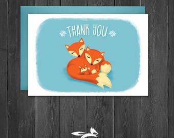 Fox Thank You Card, Fox Theme Thank You Card, Fox Thank You, Digital, Printable, Download