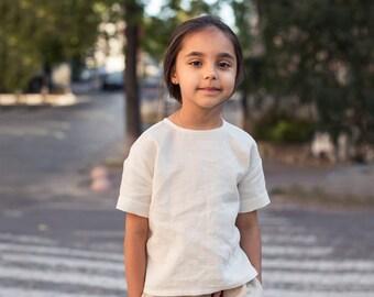 Linen Top, White Linen Top, Kids Clothes, Linen Blouse Girls, Short Sleeve Top, Toddler Top, Linen Shirt, Washed Linen, White Linen