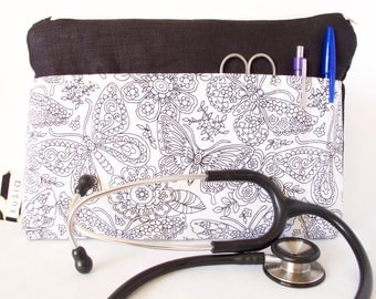 COLOR-IN Stethoscope Bag. Butterfly Adult Coloring Bag. Nurse Gift.Vet Tech Gift.Nursing Student.Medical Student.Physician Assistant.PA gift