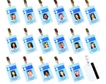 Grey's Anatomy Grey + Sloan Charactor ID Card Replica w/ Clip | Choice: Grey Callie Derek Bailey Yang Arizona Hunt Amelia Lexie Maggie +More