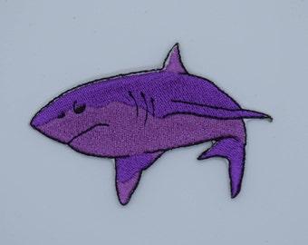 Purple Shark Iron on Patch