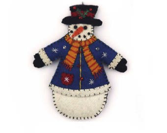 Cheery Snowman in Blue Coat and Winter Christmas Scarf Wool Felt Applique Ornament