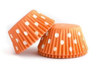 Orange Polka Dot Cupcake Liners // Orange Baking Cups (Qty 50)
