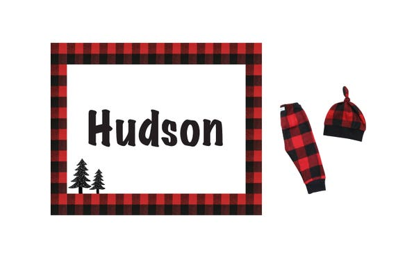 Personalized Swaddle Blanket Set Buffalo Plaid Red Baby Pants Top Knot Hat Custom Printed Stretch Blanket Name Buffalo Plaid Blanket Jersey