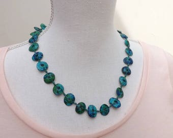 Ceramic necklace, Aegean necklace, knotted necklace, summer jewellery, Boho necklace, blue necklace, green necklace