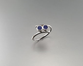 Playful Lapis Lazuli ring with Sterling silver - gift idea - round stones - inlay work - AAA Grade afghan Lapis - dual stones