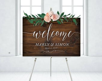 Wood Welcome Wedding Sign White Calligraphy Rustic Wooden Plank Script Italic Serif Modern Fonts . PRINTED on Paper • Foam Board • or Canvas