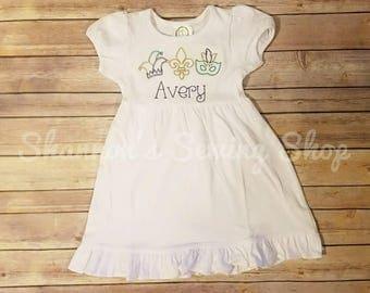 Mardi Gras Dress - Girls Mardi Gras Dress- Cute Mardi Gras Dress - Mardi Gras Applique Dress
