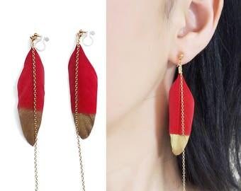 Red Feather Clip On Earrings, Dangle Gold Painted Feather Invisible Clip On Earrings, Long Chain Modern Clip Earrings, Non Pierced Earrings