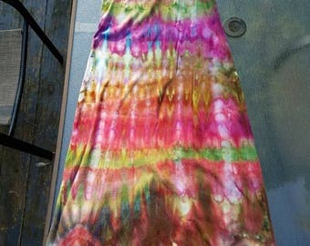 Free shipping. Size small long tie dye ice dye ladies rib knit spaghetti strap cotton dress. colorful; purple, brown, green