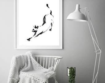 Minimalist Cat Art Print, Black and white Cat Print, Cat Watercolor Painting Print, Cat Art, Modern Wall Art Print of cat