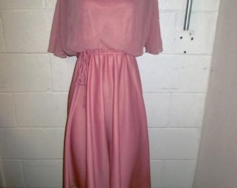 Darcy Pink Vintage Pearl Beaded flow sheer cowl neck dress medium
