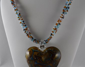 Glass Heart Pendent - Brown and Blue Swirl
