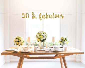 50 & FABULOUS glitter banner, birthday banner, fifty, happy 50th party, backdrop, photo, decor