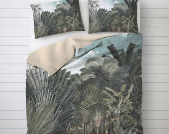 Tropical Forest Bed, Tropical Room Decor, Vintage Illustration, Unique Duvet Covers, Photo Print, Bed Decoration, Scenic Bedding. SP057