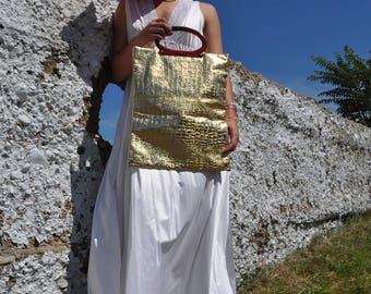 1960s Golden Girl Faux Croc Bag